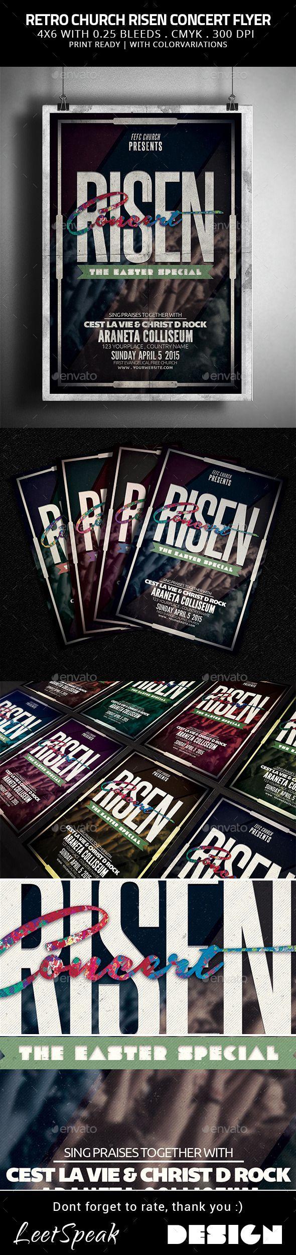 Retro Church Risen Concert Flyer | Concert flyer, Print fonts and ...