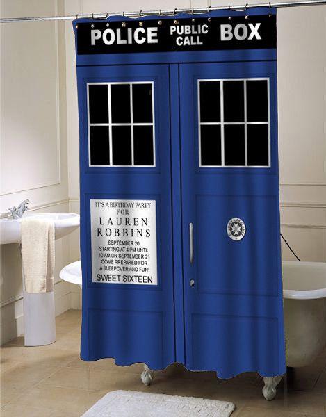 Tardis Dr Who Shower Curtain Showercurtain Showercurtains Curtains Bath