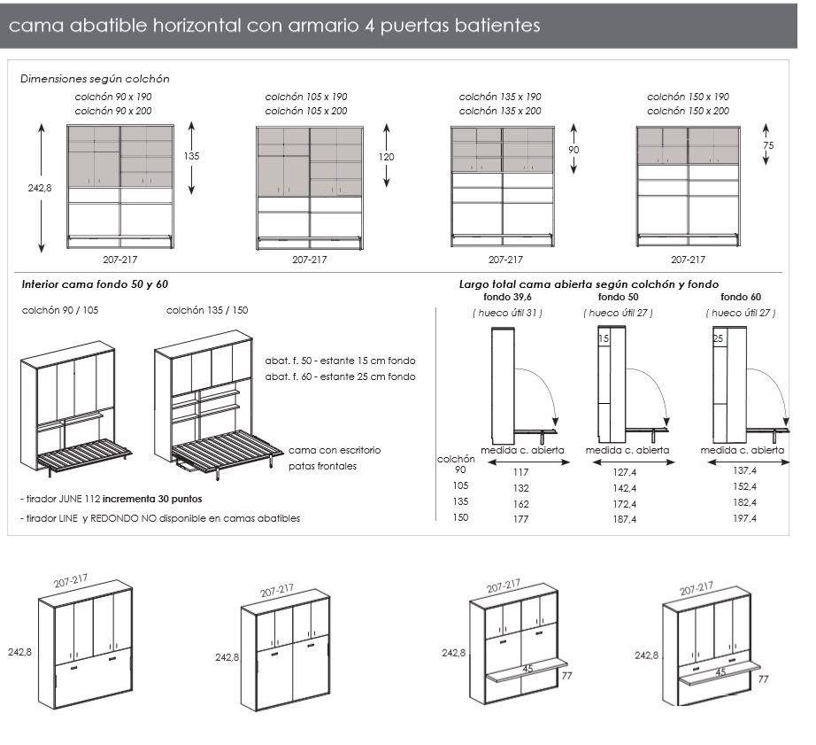 Camas abatibles horizontales y verticales estudio97 for Mecanismo cama abatible