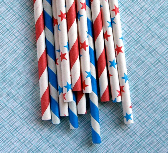 Red White and Blue paper straws... I'm coveting these for a 4th of July party.