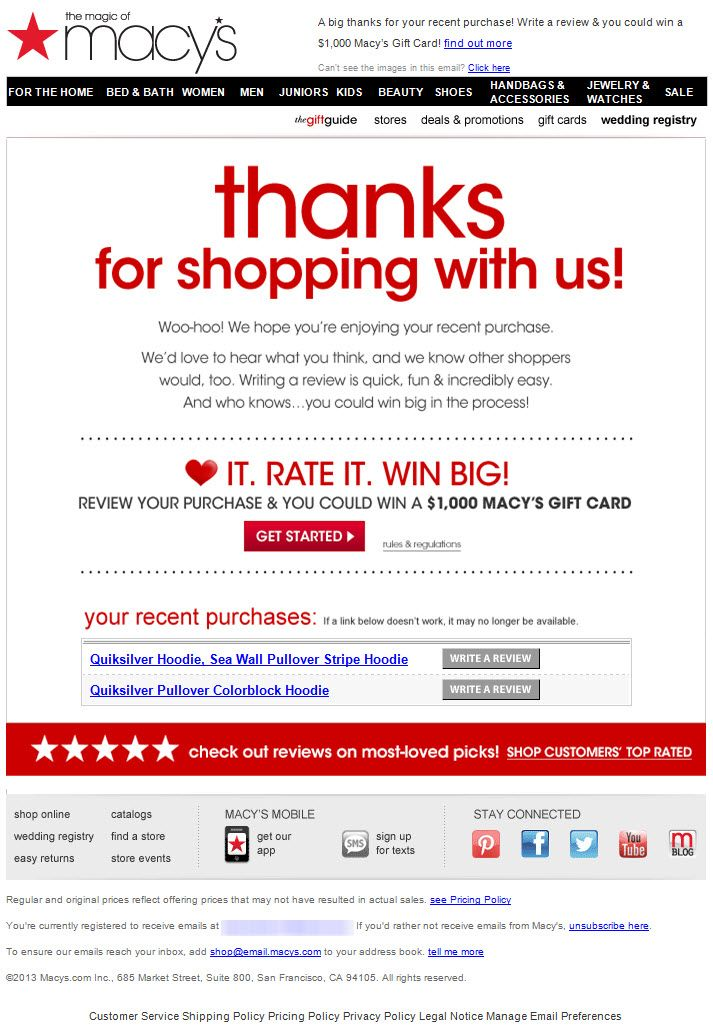 Sl Love What You Got Review It You Could Win A Gift Card Customer Ratings Review Email From Social Proof Email Marketing Layout Email Marketing Design