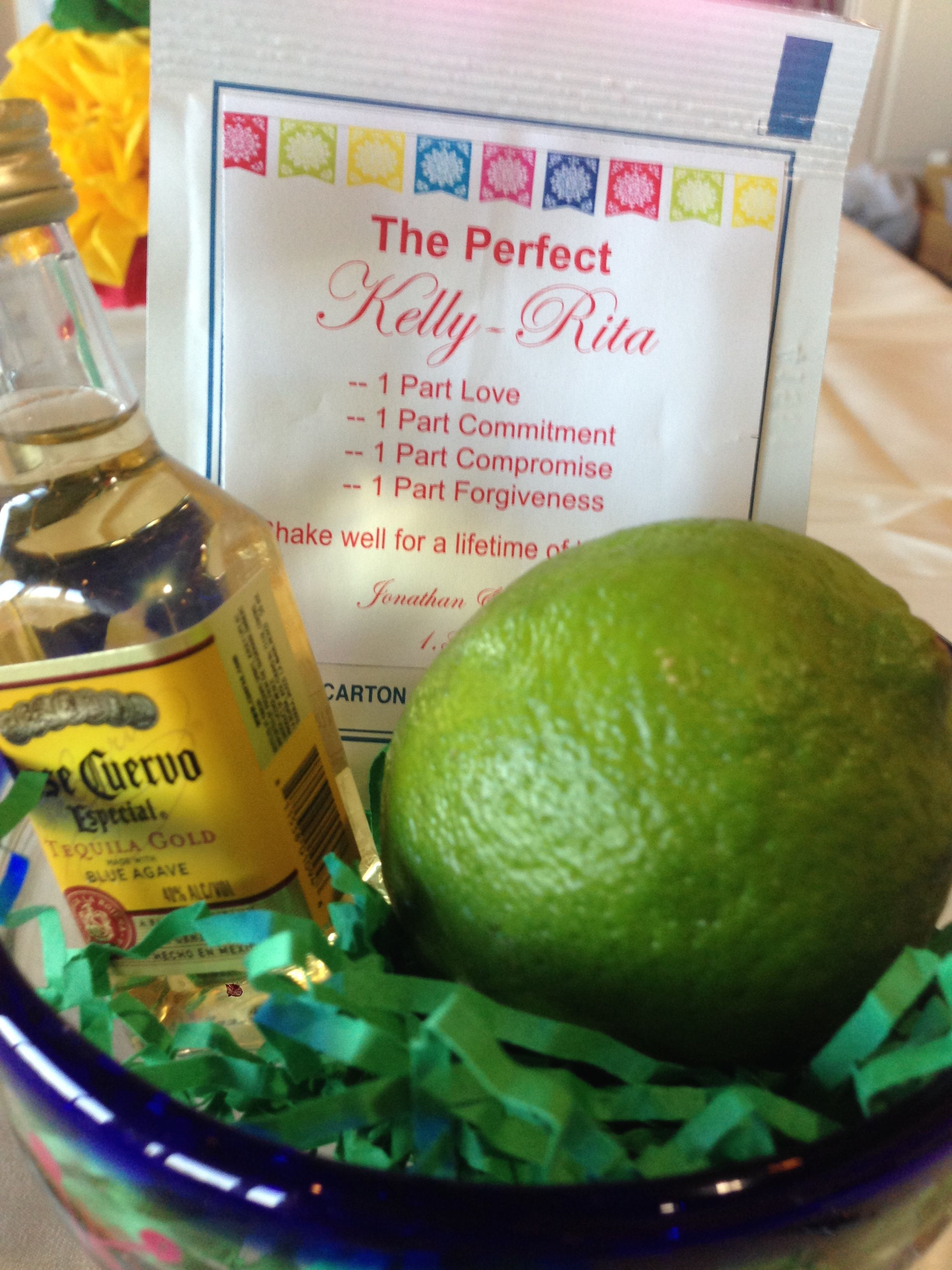 mexican themed bridal shower margarita kit and place setting with guests name on the glass also served as guests take home gift