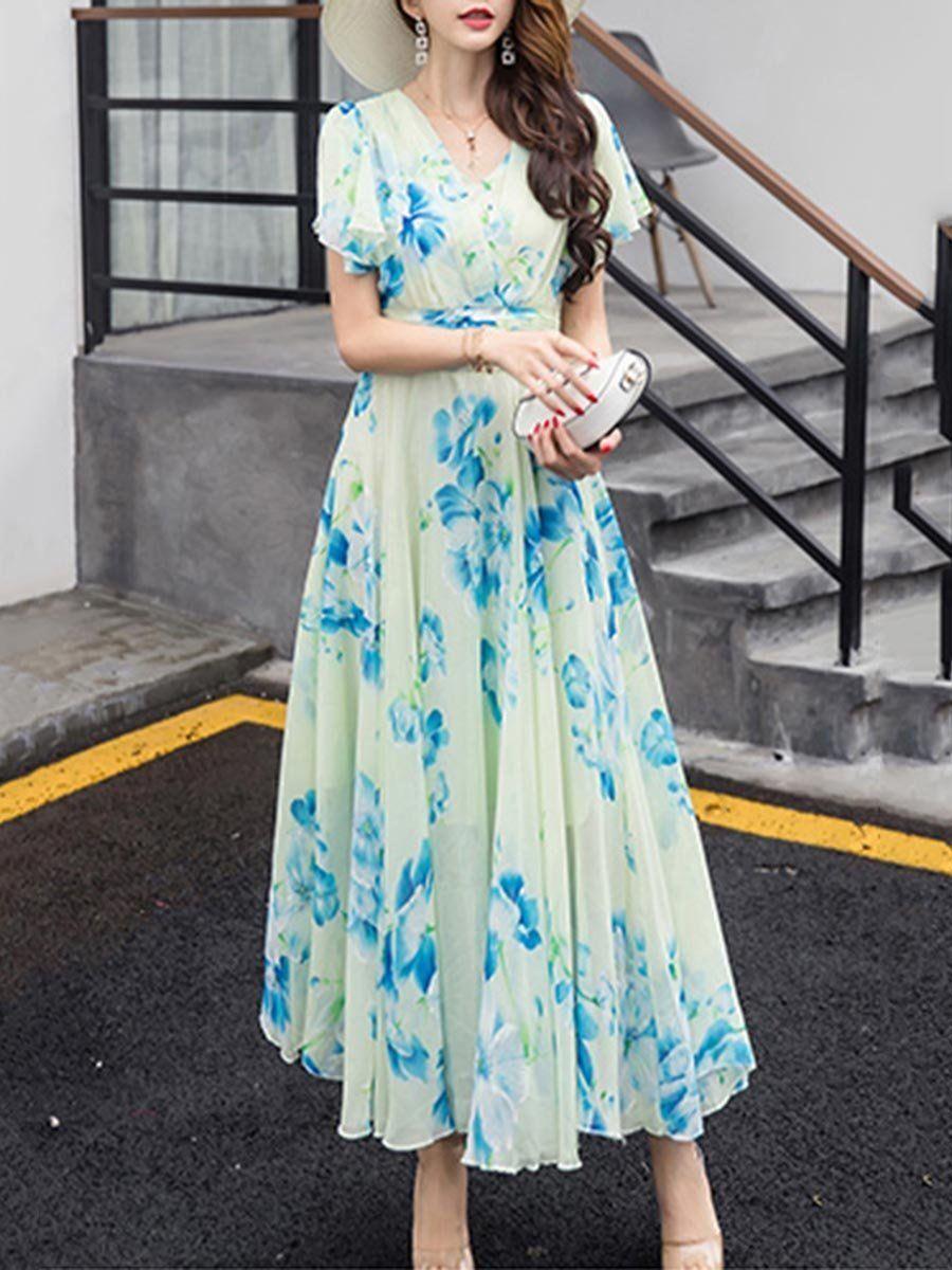 Summer V Neck Floral Printed Chiffon Maxi Dress Maxi Dress Chiffon Maxi Dress Chiffon Maxi [ 1200 x 900 Pixel ]