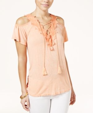 16ff3786ac5e6 Jessica Simpson Lace-Up Cold-Shoulder Top - Orange XS