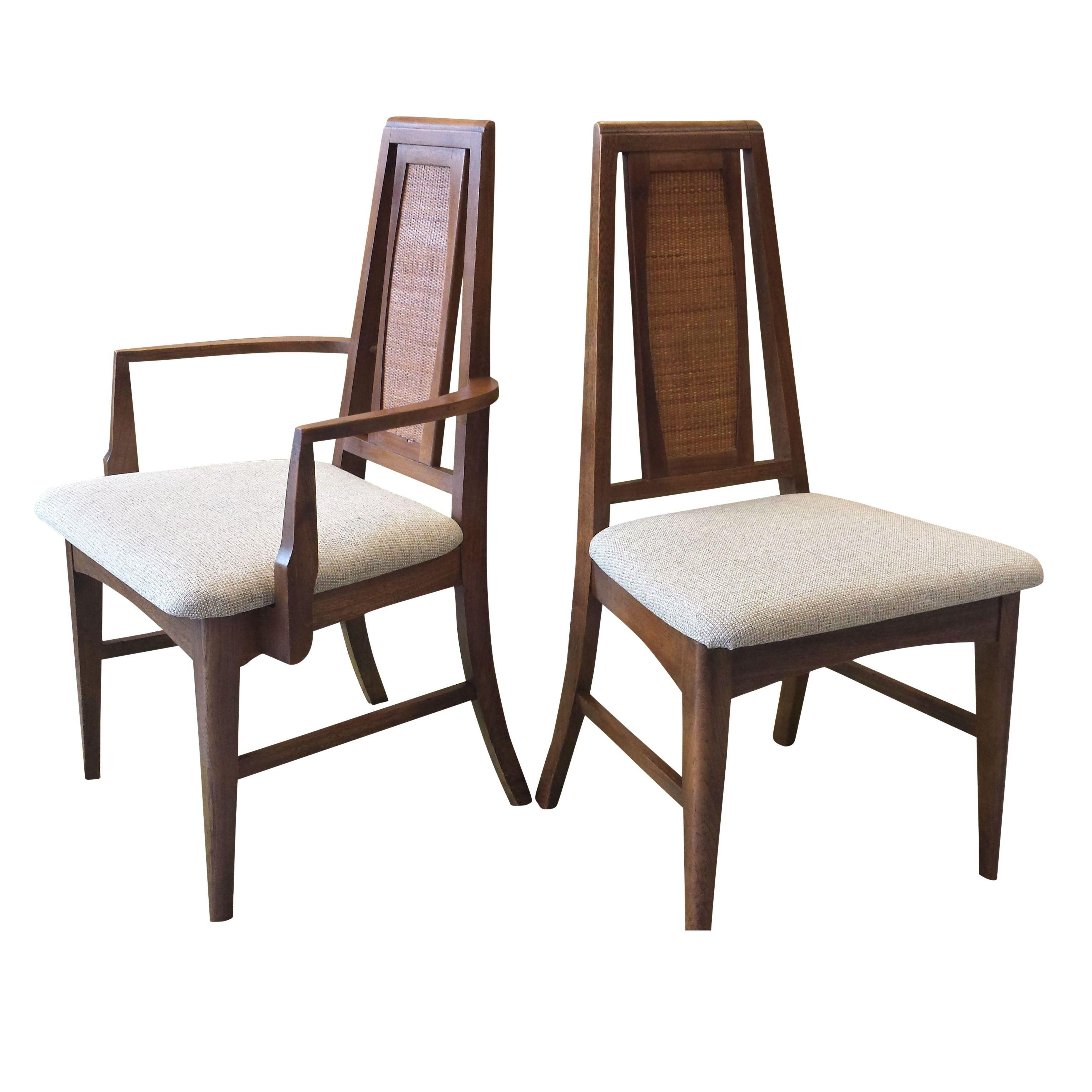 Mid-Century High Back Dining Chairs - Set of 8  on Chairish.com