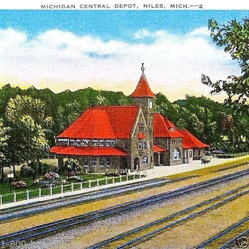 MICHIGAN CENTRAL RAILROAD Linen Postcard 1930s