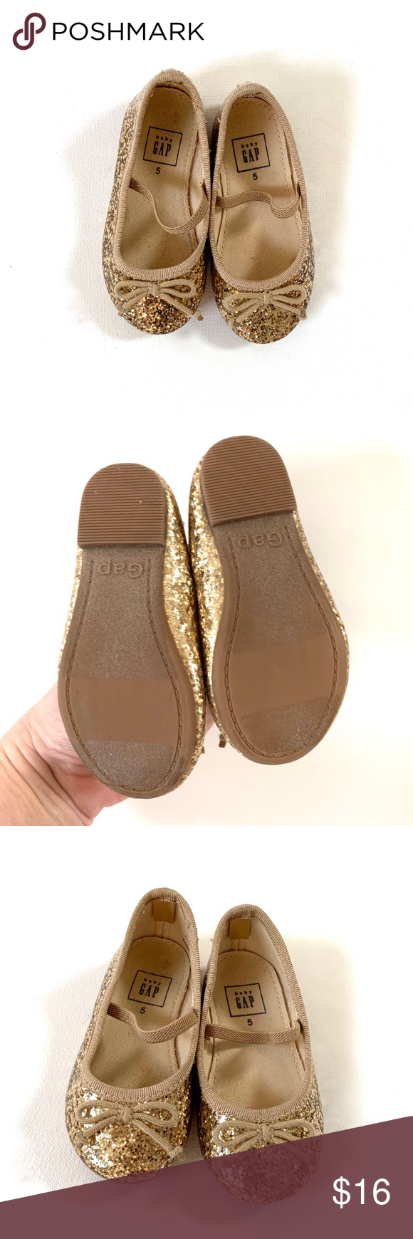 Baby GAP Toddler Girl Gold Glitter Shoes Fun And
