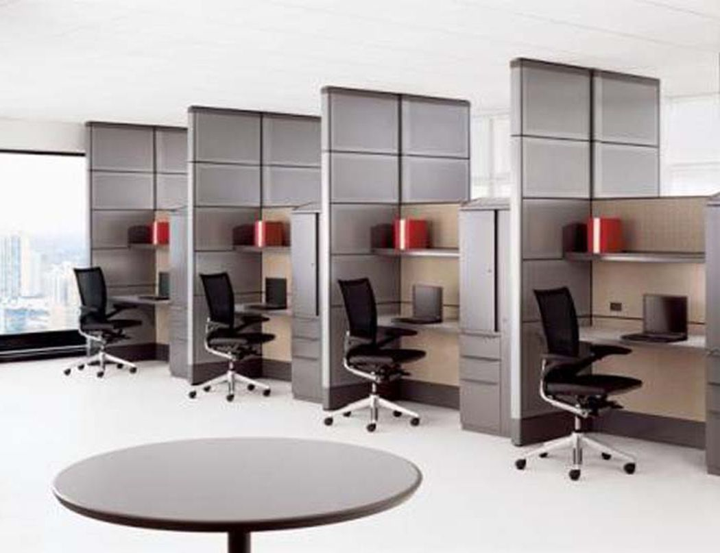 Interior various contemporary minimalist open office for Long narrow office layout