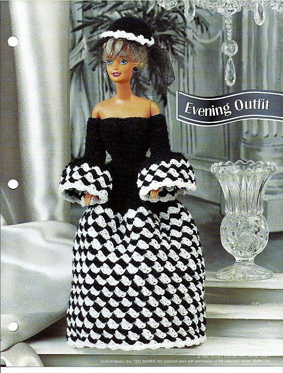 "Evening Outfit 11 1/2"" Doll Crochet Pattern Annies Fashion Doll Crochet Club FC32-03 by grammysyarngarden on Etsy"