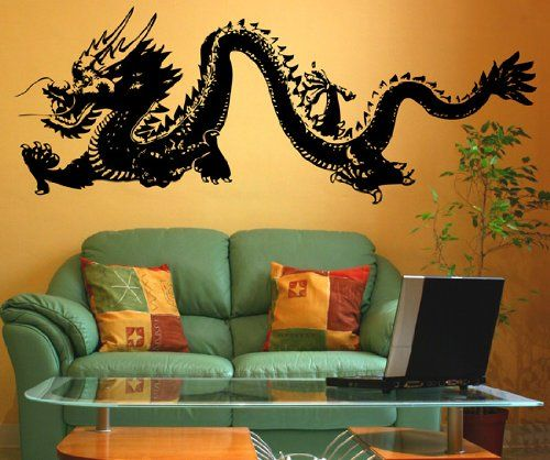 Stickerbrand© Asian Décor Vinyl Wall Art Chinese Dragon Wall Decal ...