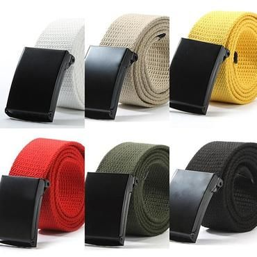 c1eafd0f06a Unisex Military Casual Solid Color Plain Webbing Canvas Waist Belt Waistband