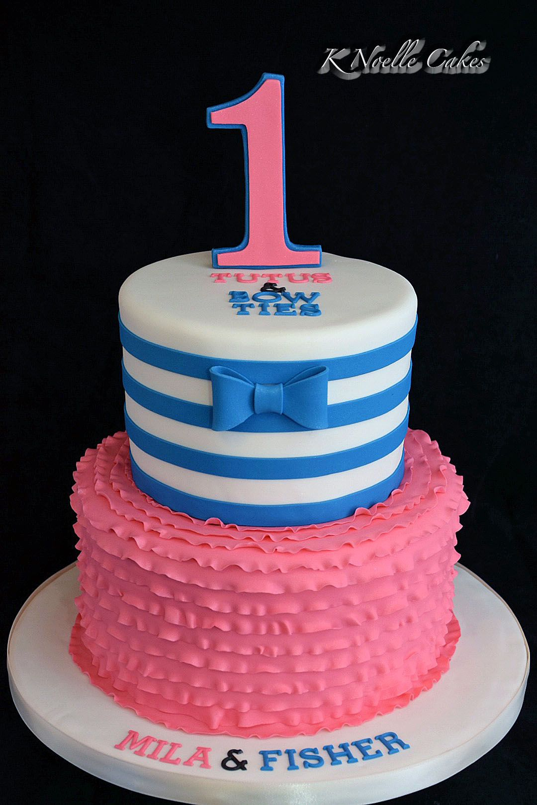 1st Birthday Cake For Twins By K Noelle Cakes