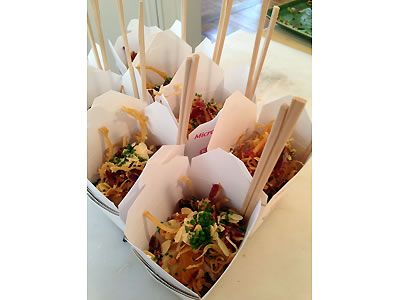 Fun Idea For A Wedding Appetizer Individual Portions Of Chinese Food In Takeout Boxes With Chopsticks Topanga Catering Los Angeles