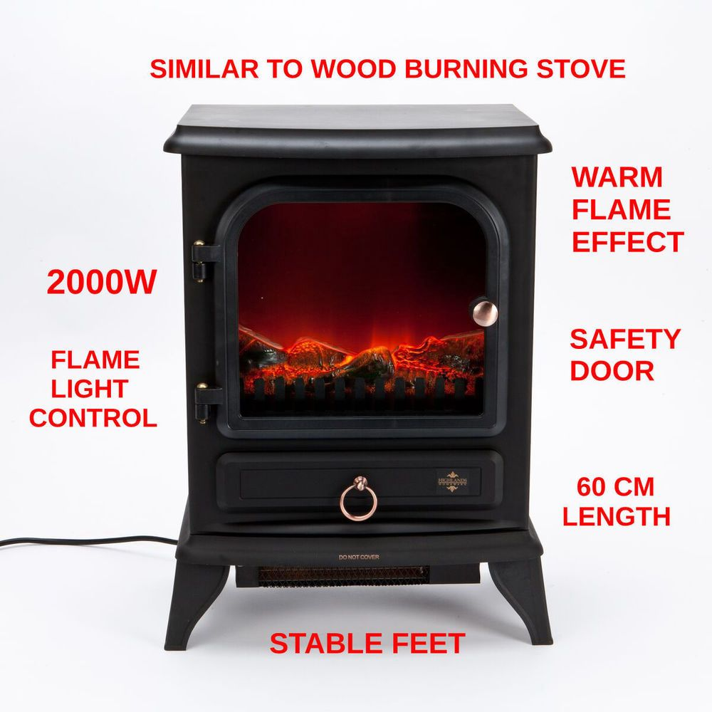 Flame Effect Stove Electric Heater Fire Log Burning Fireplace