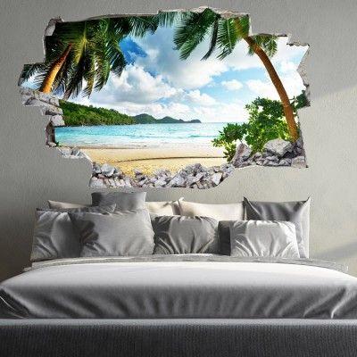 Sticker Mural 3d Plage Paradisiaque Jolie Beach Wall Decals
