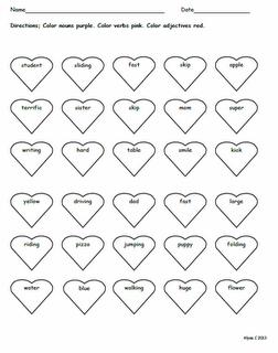 nouns verbs adjectives color sheet valentine 39 s day pinterest teacher stuff and teacher. Black Bedroom Furniture Sets. Home Design Ideas
