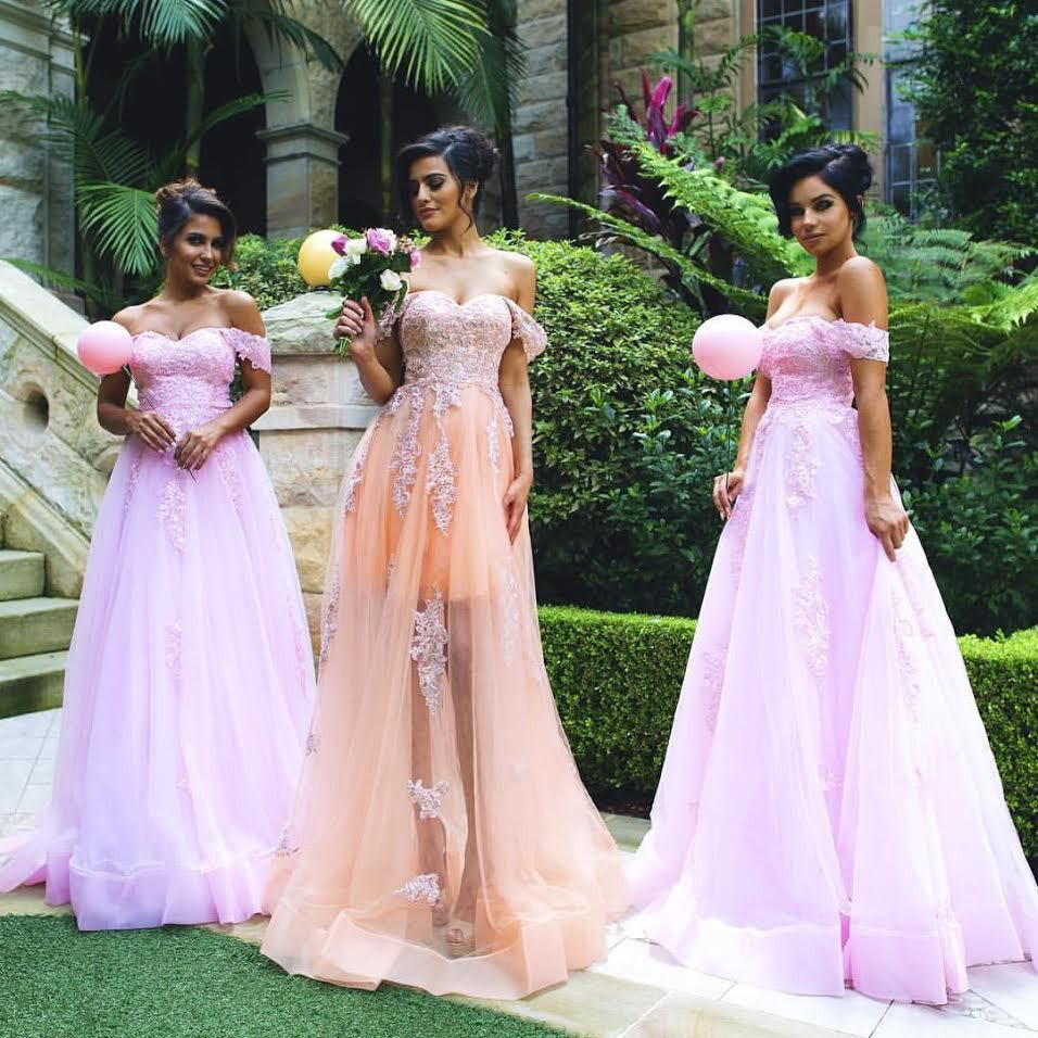 New arrival 2017 off the shoulder applique tulle pink bridesmaid new arrival 2017 off the shoulder applique tulle pink bridesmaid dresses long plus size maid of ombrellifo Gallery