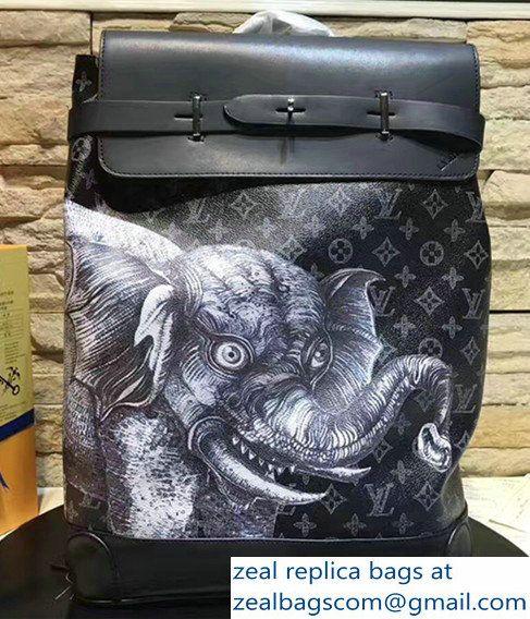 b3b2004359fd Louis Vuitton Elephant Print Steamer Backpack M54126 Black 2017 ...