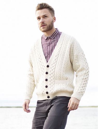 aa1234c59 5 Tips To Buying A Quality Sweater. Merino Wool Aran Men's V-Neck Cardigan  @AranMarketSweater