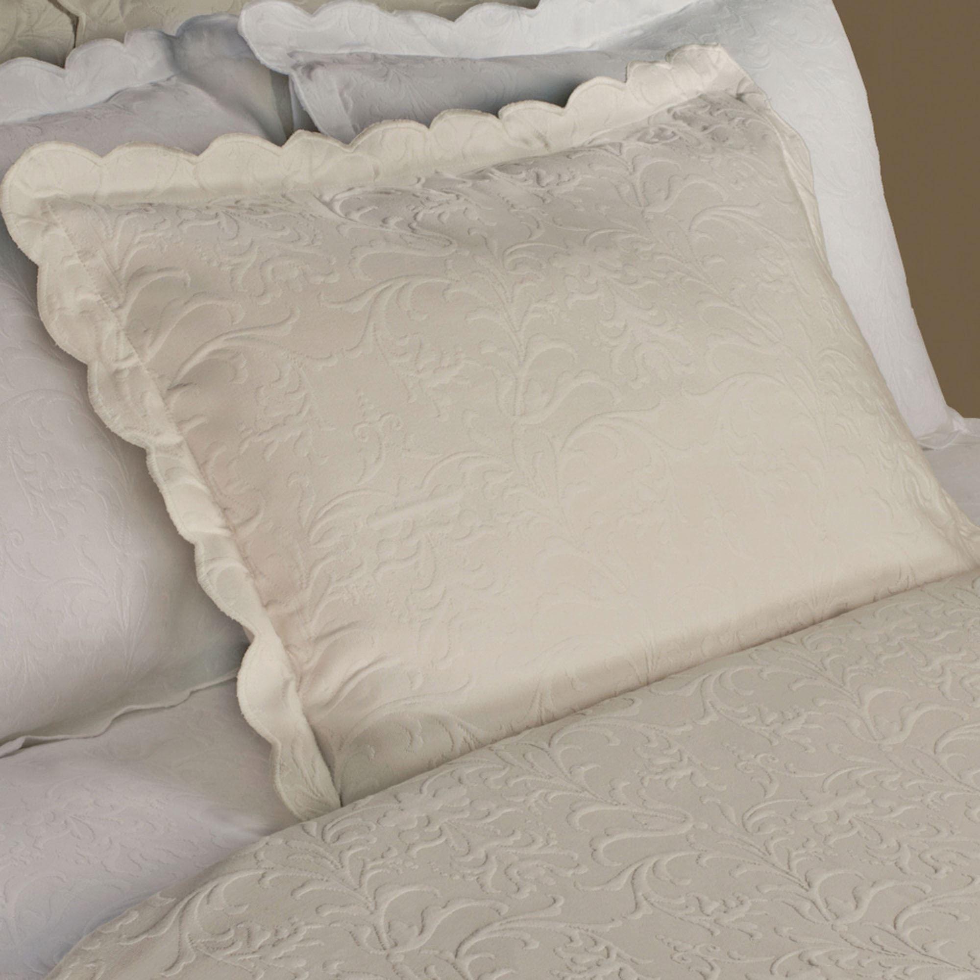 Majestic Scalloped Brocade Matelasse Sham Coverlet Bedding Bed Coverlets