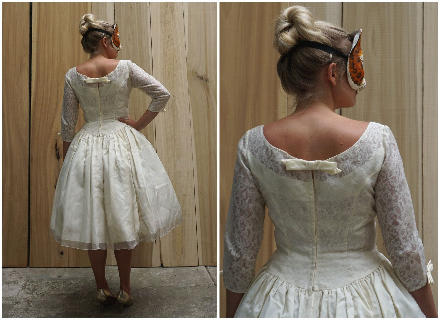 Vintage 50's 60's Ivory Short Wedding Dress with Lace