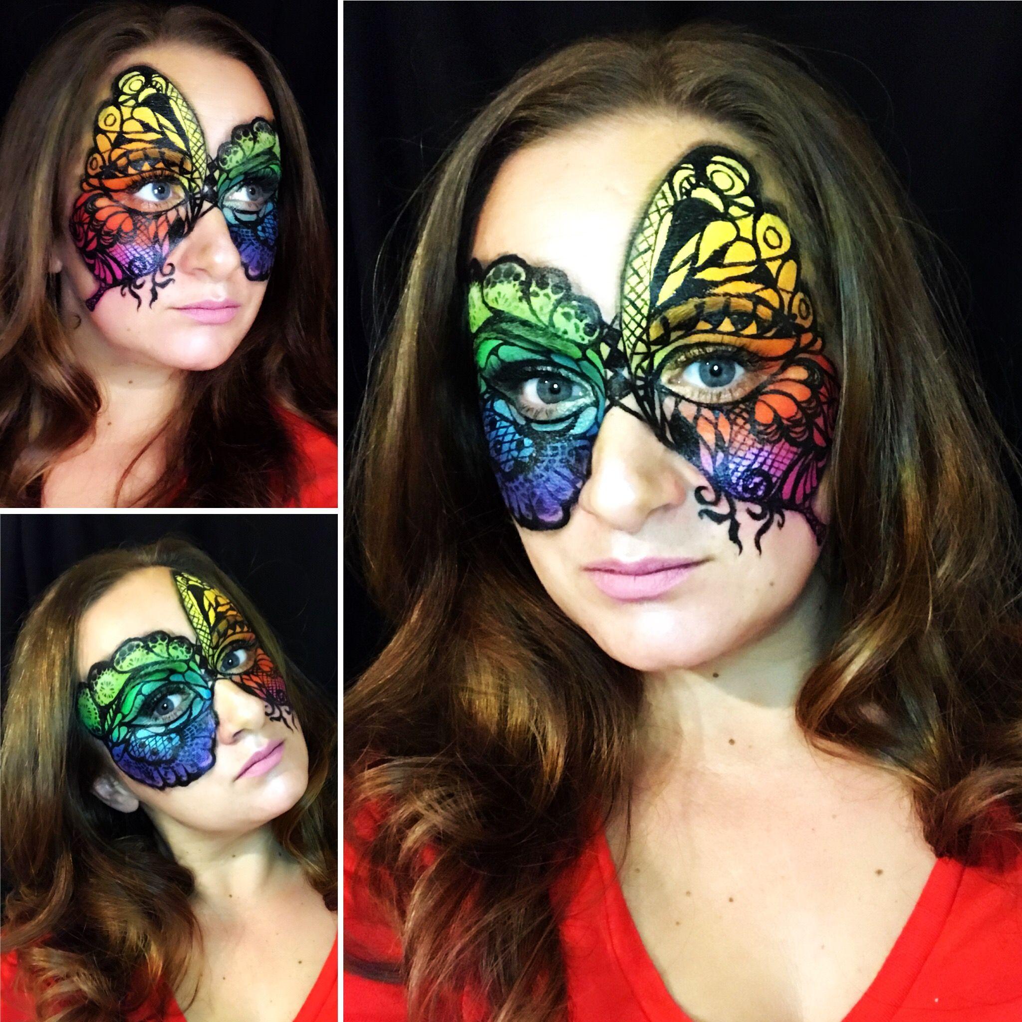 Asimetrical design,color palette Halloween face makeup