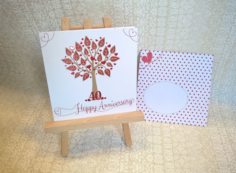 Ruby Wedding Anniversary Card. 6 inch Square. Tree theme