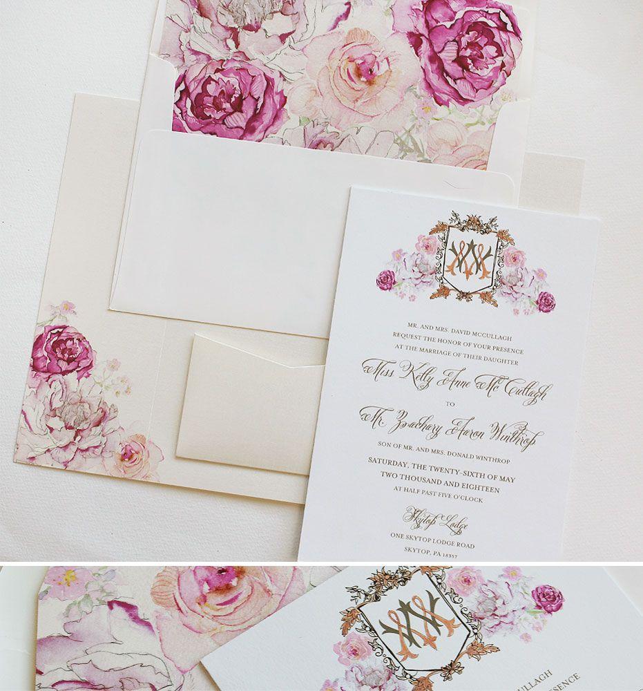 Lisa M. - Hand Painted Peony Wedding Invitations | Watercolor ...