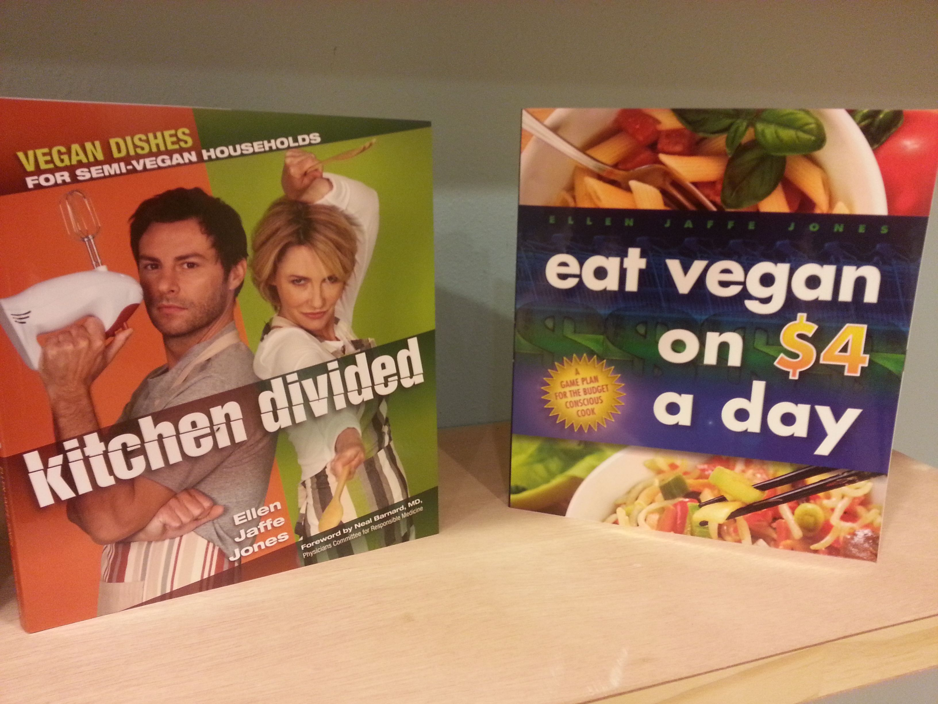 Eat Vegan on $4 a day, and Kitchen Divided. Vegan Cookbooks