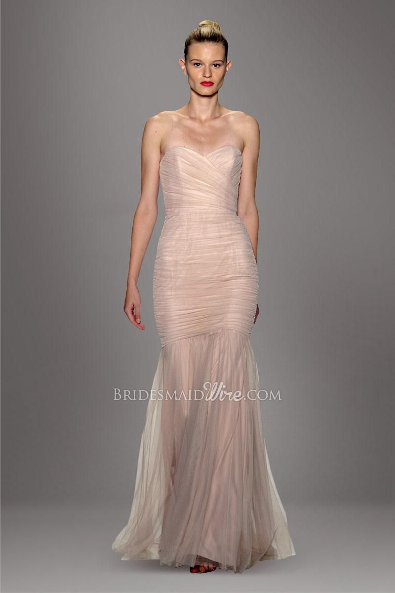 Pale pink strapless sweetheart neckline allover pleated trumpet