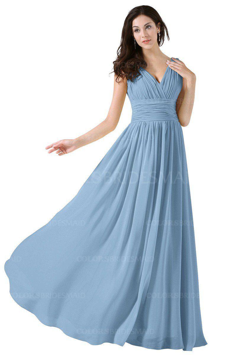 c267e273716 Sky Blue Elegant V-neck Sleeveless Zip up Floor Length Ruching Bridesmaid  Dresses (Style D41025)