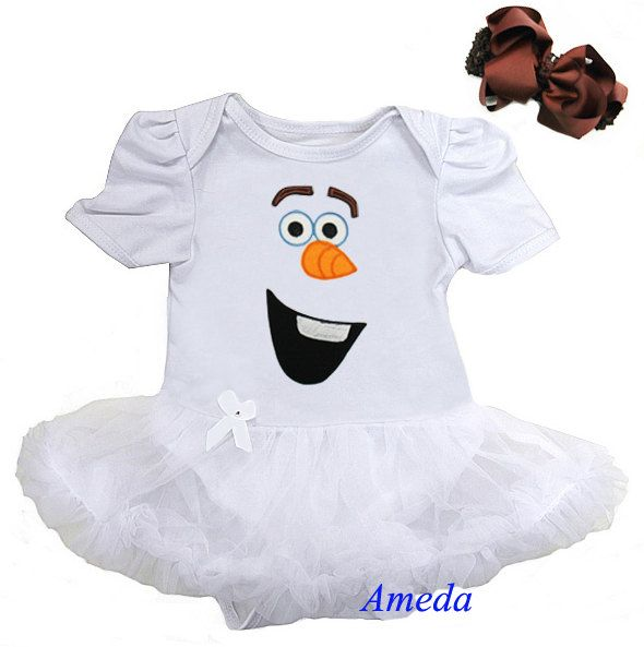 Baby Olaf Snowman White Bodysuit Tutu Dress Halloween Party Costume
