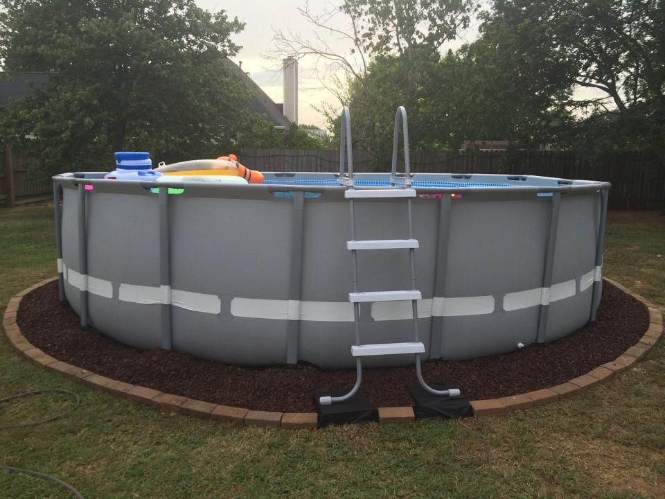 Above ground pool landscaping steps lay down black for Above ground pool ideas landscaping