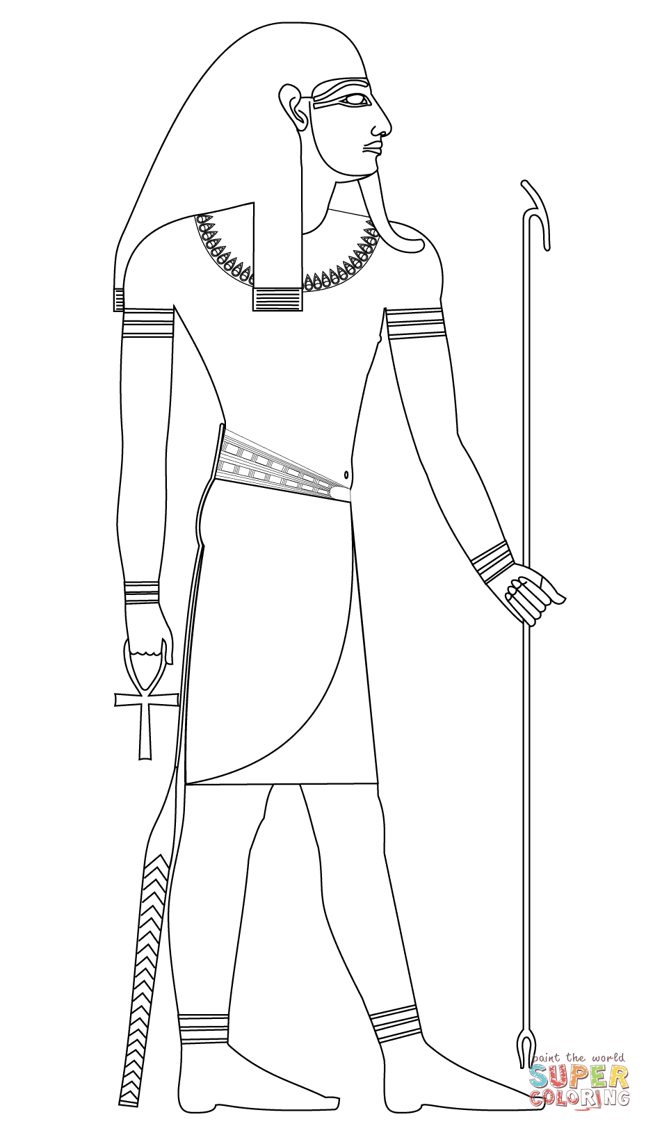 Atum Ancient Egyptian God Of Creation Coloring Page