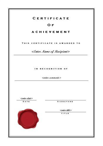 Free Certificate of Achievement Available in PDF, MS Word and MS - ms publisher certificate templates
