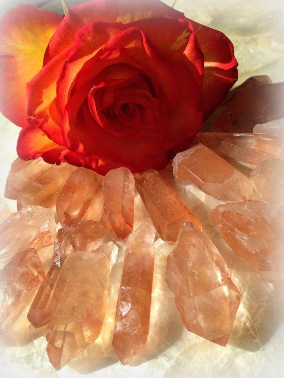 Tangerine Quartz point - the stone of hope, creativity, fertility, and courage - sacral and solar plexus chakras