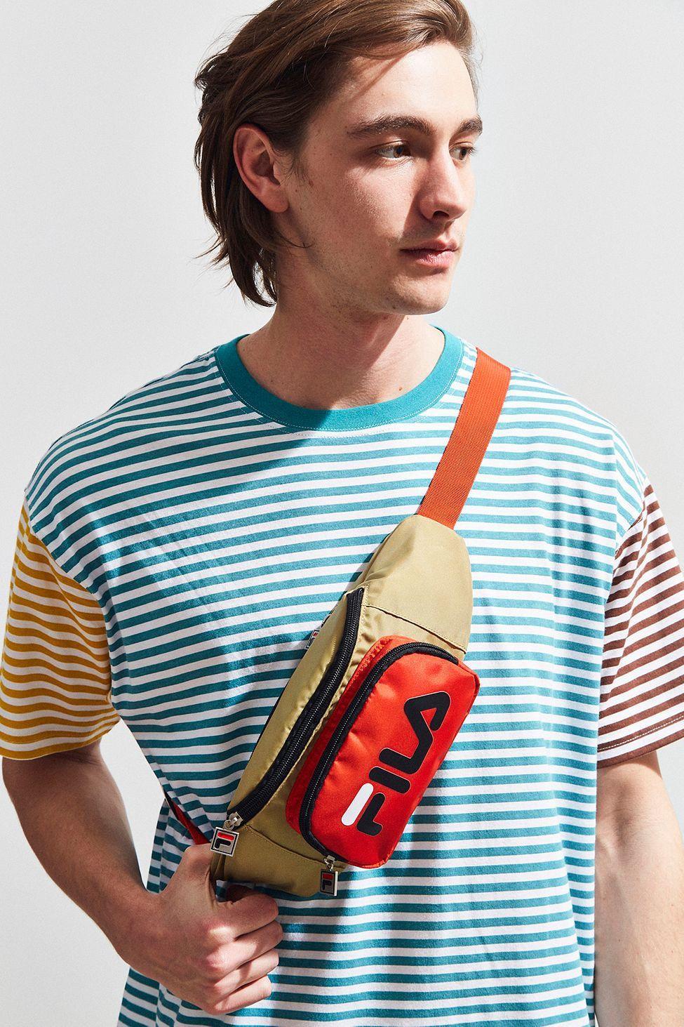 20f47bb8e135 Urban Outfitters Fila Logo Sling Bag - Grey Multi One Size