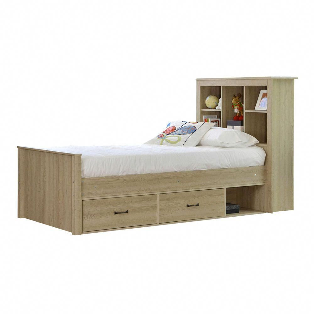 New Jeppe Oak King Single Bed With Bookshelves Drawers Vic