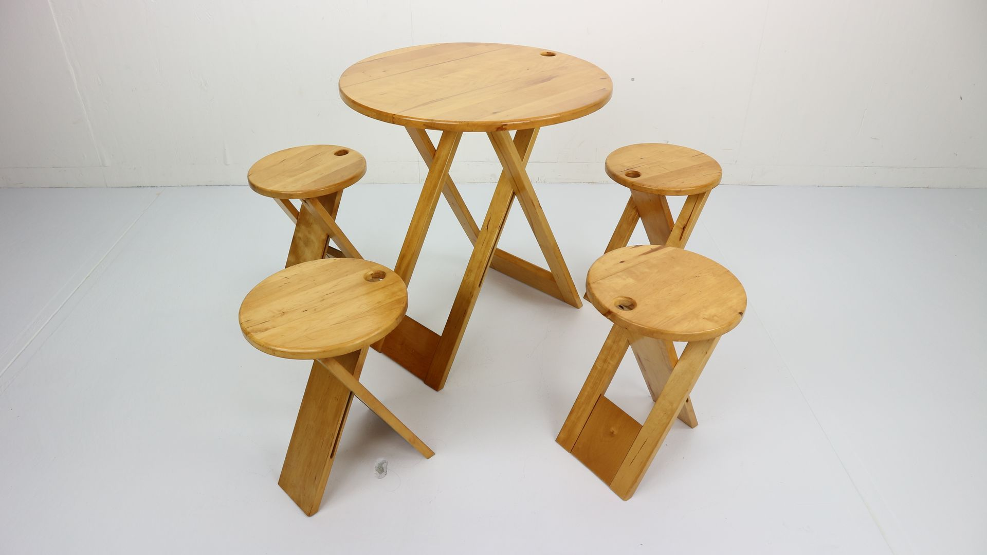 Foldable Table And Stools By Roger Tallon For Santou