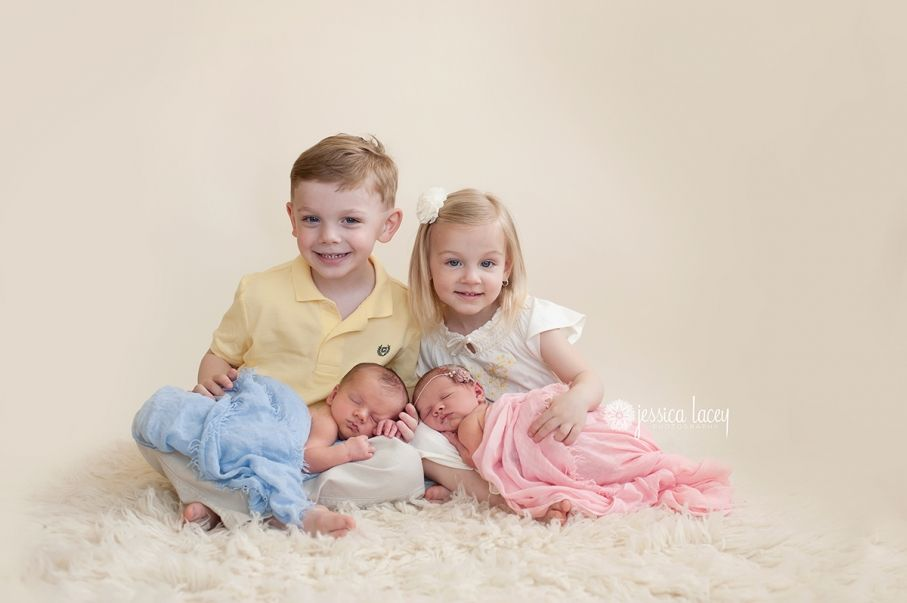 Newborn twins with siblings jessica lacey photography blog