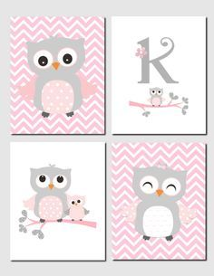 Owl Nursery Art Pink Gray Owls Initial Monogram Baby Kids Chevron S Room Decor Set Of 4 Prints Or Canvas