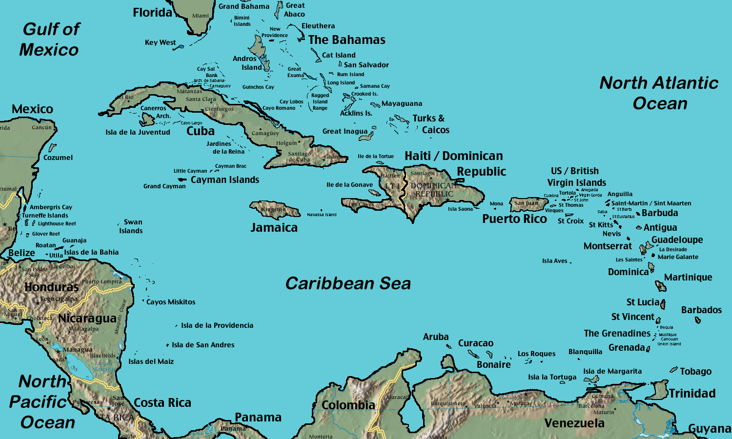 Large CaribbeanIsland Maps BNAmericas No Contradiction In - Map of us vacation spots