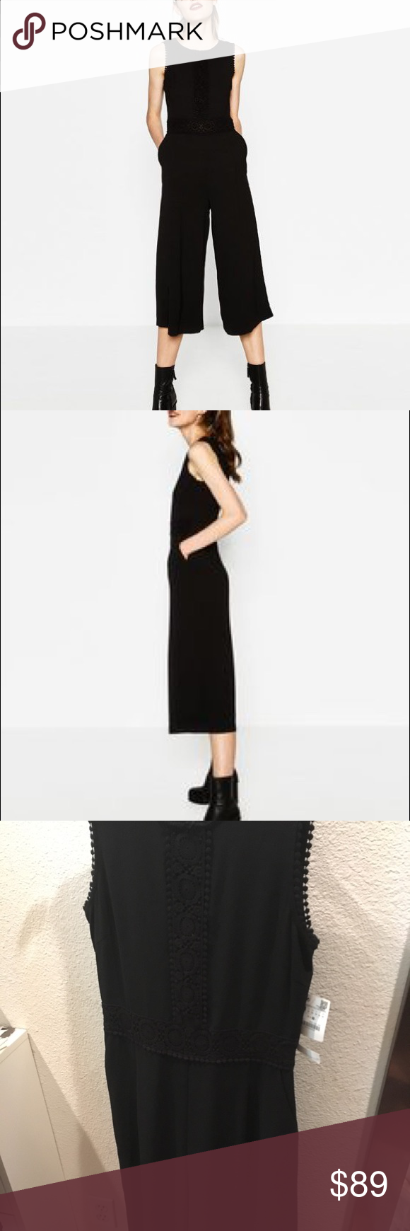 edcd27226ff Zara black cropped jumpsuit— medium Gorgeous!!!! Such a flattering  silhouette... see pictures for lace and Pom details..... staple for closet  Zara Pants ...
