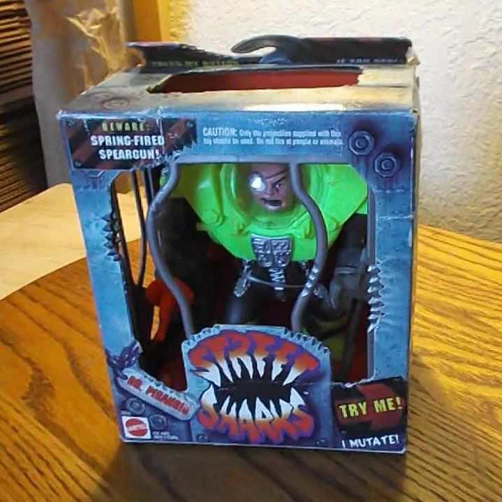 Shark Toy Box : Street sharks dr piranoid with spring fired speargun