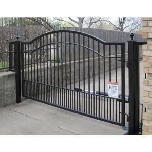 Mighty Mule 12 Ft X 6 Ft Biscayne Single Driveway Gate With Single Swing Automatic Opener Disc Driveway Gate Wrought Iron Driveway Gates Metal Driveway Gates