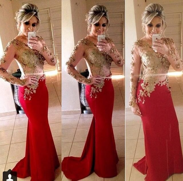 Red and Gold Prom Dresses