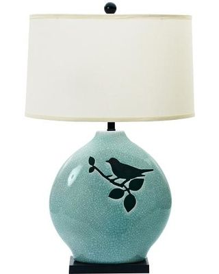 Birdie Spa Blue Ceramic Table Lamp (320×400)