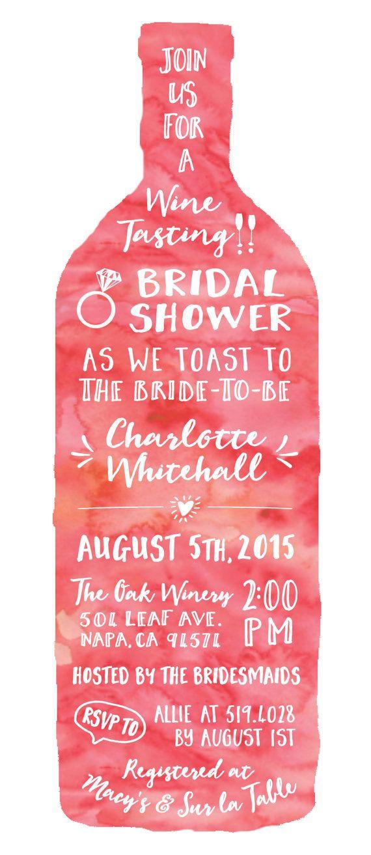 Wine Tasting Theme Bridal Shower Invitations - Modern Watercolor ...