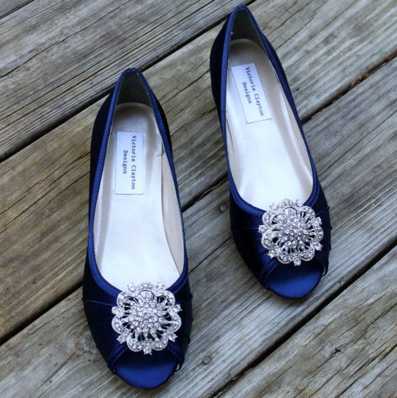 Dark Blue Wedding Shoes Wedge Low Heel 1 Inch Wedge Shoes Fun Wedding Shoes Wedge Wedding Shoes Wedges Shoes Low