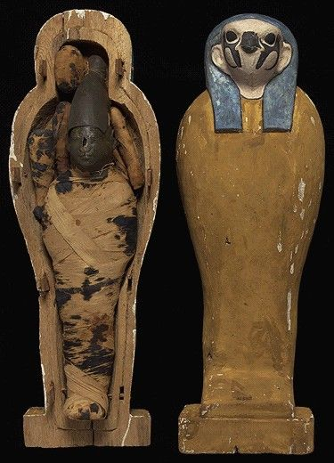 CORN MUMMY IN WOODEN COFFIN Linen wrappings, wax, painted wood Late Period, 664-305 BC British Museum